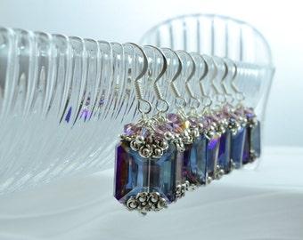 Dark Purple Earrings, Purple Bridesmaid, Amethyst Crystal Earrings, Square Earrings, Violet Wedding, Lavender Crystals, Quinceanera, M1062