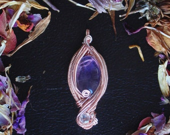 Amethyst and White Topaz Rose Gold Pendant
