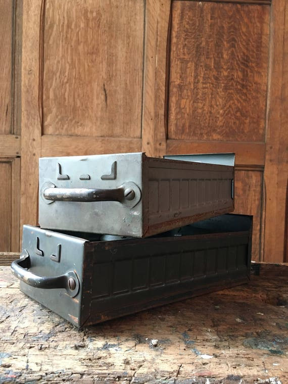 Pair Of Vintage Drawers, Metal Industrial Storage And Organization, Parts Cabinet Drawers