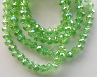40pc Light Green AB Faceted Crystal Rondelle Bead, rondelle beads, crystal beads, green crystal, AB green beads, green faceted