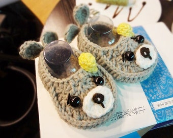 Little dolphins handmade crochet baby booties,gray crochet shoes for babies ,newborn gift