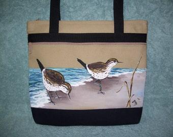 Handpainted tan and black Sandpiper handbag