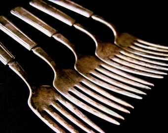 Rogers Silverplate, Rogers Forks, 5 Rogers Forks, Tarnished Forks, William Rogers Forks, Rogers Silverware, Rogers Silver Forks, Forks