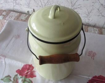 Vintage Enamel Milk Pot from USSR (Soviet Union) Era, 3 Liters, milk carry, Milk storage from USSR, Enamel milk