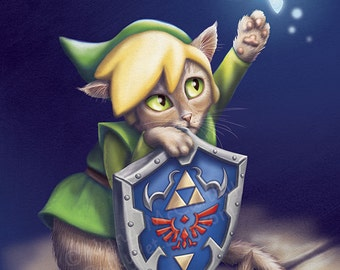 Link Cat - 8x10 art print - Link kitty is distracted by the fairy Navi on his quest to save Zelda