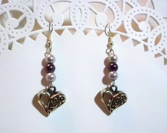 Purple Pearl Dangles with Silver Heart
