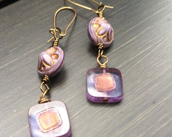 Purple Square Czech Glass Earrings   Amethyst Earrings   Boho Earrings   Minimalist   Product id: ASQ417