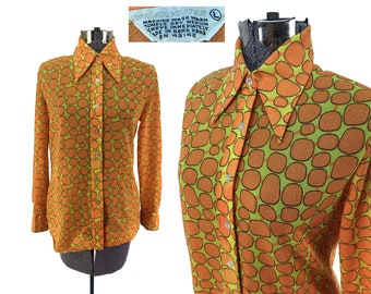 Vintage 70s Orange Spotted Polyester Blouse LARGE // Disco Era // Retro // Psych // 1970s // Orange + Yellow // Giraffe Spots // Throwback
