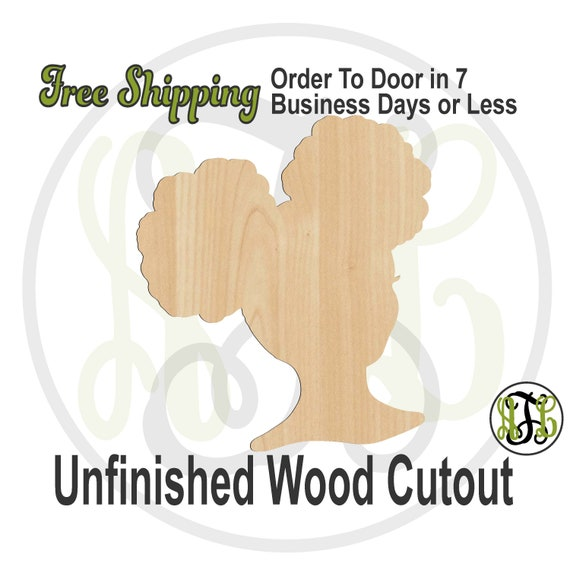 African American Girl with Afro Puffs- 3300013- Fun Cutout, unfinished, wood cutout, wooden, laser cut shape, wood cut out, Door Hanger