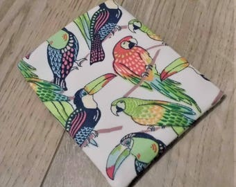 Birth Control Pill Case Pill Sleeve Pill Holder Business Card Holder Business Card Sleeve Parrots and Toucans