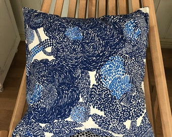 Handmade Marimekko Mynsteri blue white heavy weight cotton fabric pillow cushion cover case, many sizes