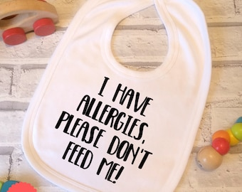allergy bib, allergy alert, allergy alert bib, no dairy, no gluten, nut allergy, food allergies, allergy awareness, medic alert, nursery,