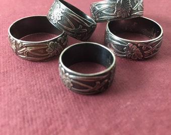 Ready to Ship! Art Nouveau Ring US Sizes 3.5 / 5.25 / 8.25 / 8.5 : Sterling Silver Oxidized