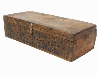 antique 19th century orient vintage cedar wood treasure Dowry Chest from Nuristan Afghanistan No:18/1