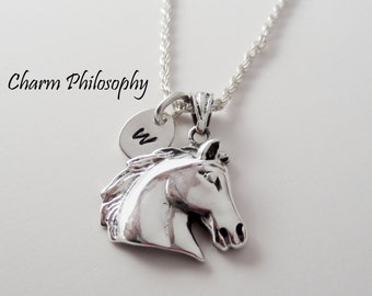 Horse Head Necklace - Personalized Initial Necklace -  925 Sterling Silver Jewelry - Horse Head Pendant