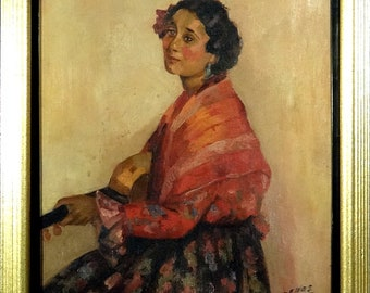 Exquisite ca.1930 Elegant Spanish Lady Portrait Painting Oil/Canvas/Frame Signed