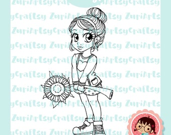 Digital Stamp, Peny, Flower, Scrapbooking Digital Stamp, Instant Download, Zuri Artsy Craftsy