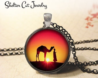 "Camel at Sunset Necklace - 1-1/4"" Circle Pendant or Key Ring - Handmade Wearable Photo Art Jewelry - Desert, Camel, Desert, Animal Art. Gift"