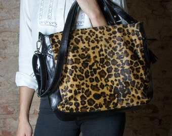 Leopard print bag, Animal Print Leather, Cowhide purse, Oversized leather purse, crossbody leopard bag, leopard purse, animal print purse