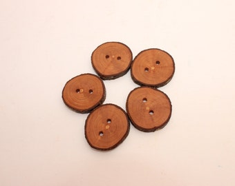 Set of 5 apple wooden buttons | 1 - 1.4 "