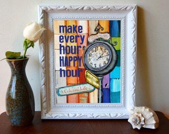 Print, Art, Art print, Happy Hour, grandfather clock, retro, inspirational art, girlfriend birthday gift, wall decor, home poster, All Sizes