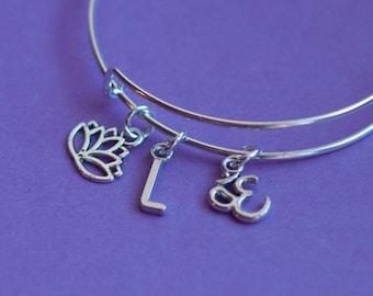 Om bracelet, yoga bracelet, yoga jewelry, om jewelry, meditation bracelet, charm bracelet, initial bracelet, gift for her, zen bracelet