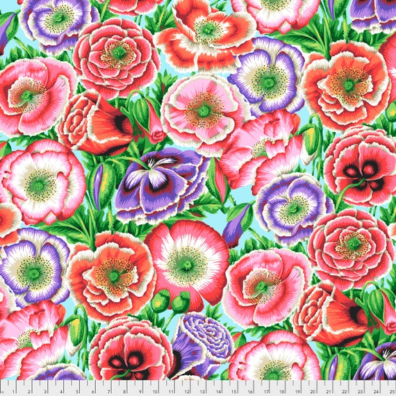 POPPY GARDEN Pink Philip Jacobs PWPJ095.PINK Kaffe Fassett Collective Sold in 1/2 yd increments Item