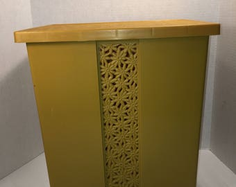 Vintage Fesco Clothes Hamper Yellow Gold Plastic Retro Bath Storage or Trach Can Daisy Flowers Vented Laundry Basket    lot
