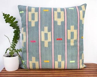 "Oversized Indigo Pillow Cover - Vintage Weaving - West African Indigo - Ivory Coast - 24"" x 24"" - Housewarming - Neon - Down Pillow Optional"