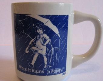 Morton Salt Mug Cup When It Rains It Pours! 1980's