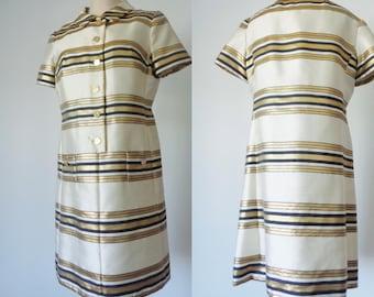 Vtg 60s SATIN Metallic GOLD & Black Striped Shirt Dress! Large
