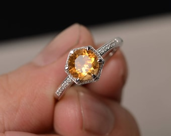 Yellow Citrine Ring Round Cut Engagement Rings Yellow Crystal Ring Silver