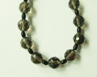Stunning smoky quartz and black onyx gemstone necklace. Brown, black