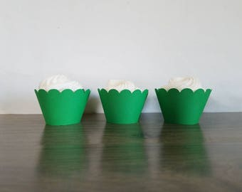 12 green cupcake wrappers! Green Scallop Cupcake wrappers Minecraft birthday party, Jungle scalloped cupcake wrapper