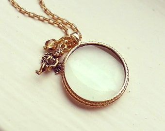 Magnifying glass necklace, Gold-plated Monocle pendant, choose your charm - key or angel