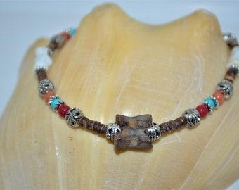 Ankle Bracelet Coconut & Fossil, Fossil Anklet, Vertebrae Anklet, Wood Bead and Bone Anklet