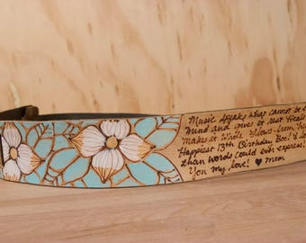 Custom Ukulele Strap - Leather for Ukulele or Mandolin in the Rebecca pattern with inscription and dogwood flowers - Sage and antique brown