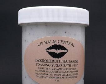 PASSIONFRUIT NECTARINE Foaming Bath Whip Sugar Scrub  4 oz Jar