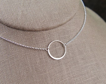 Sterling silver circle necklace, medium circle, infinity necklace, eternity necklace, karma necklace, layering, minimalist, mother's day