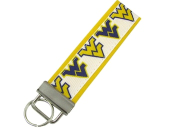 Personalized Key Chain / Key Fob West Virginia Universiry Mountaineers with Optional Initials