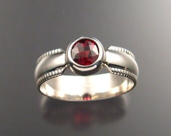 Garnet Mans Ring, Sterling Silver made to order in your size