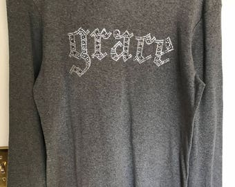 Rhinestone Grace Long Sleeve Crew Neck Fitted Tee (Order 1 Size Larger)