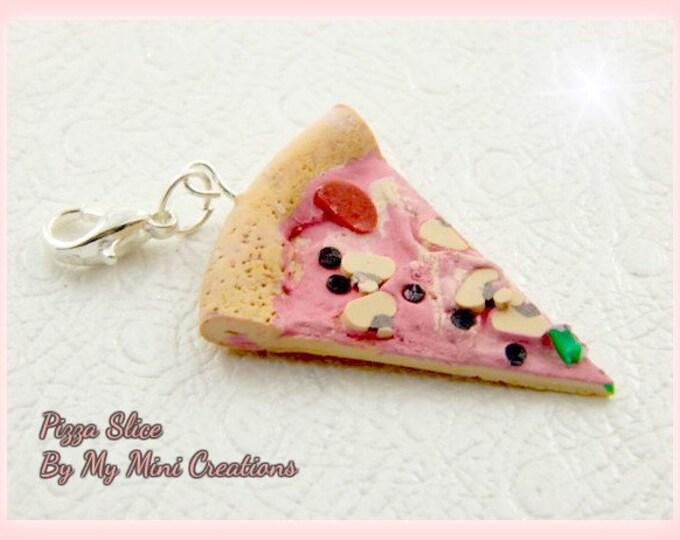 Pizza Slice Charm, Polymer Clay,  Miniature Food, Miniature Food Jewelry