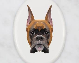 A ceramic tombstone plaque with a Boxer dog. Art-Dog geometric dog