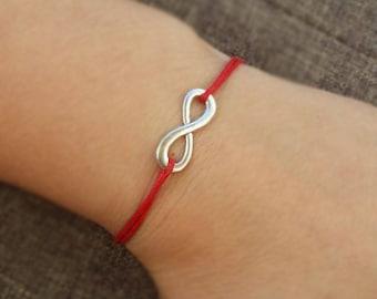 Infinity Bracelet, Best Friends Bracelet, BFF Bracelet, Gift for BFF, Silver, Cord Bracelet