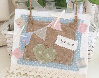 Cute Hanging Picture Linen Hessian and Applique Bunting and Cotton Lace Blue