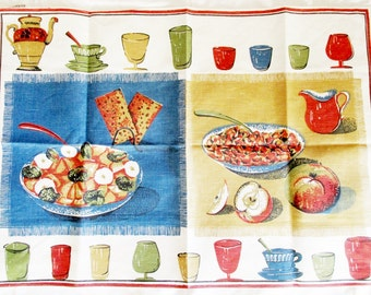 Vintage Printed Iconic Retro Dish Towel with Dishes and Glasses and Cups, Instant Retro Home Decor, Wall Hanging