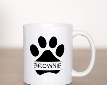 Personalized Paw Print with Pets Name - Custom Coffee Mug - Gift - Pets - Cute