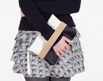 Black clutch bag Vegan purse Small leather bag Crossbody purse Leather wristlet purse Black and white handbag Evening clutch purse black