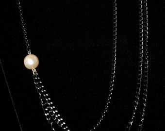 Single Pearl, Multi-chain Necklace